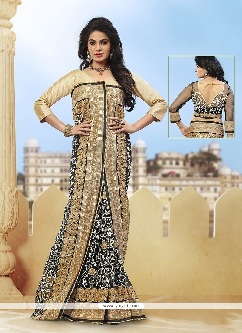 Latest Grey Zari Work Net Classic Designer Saree