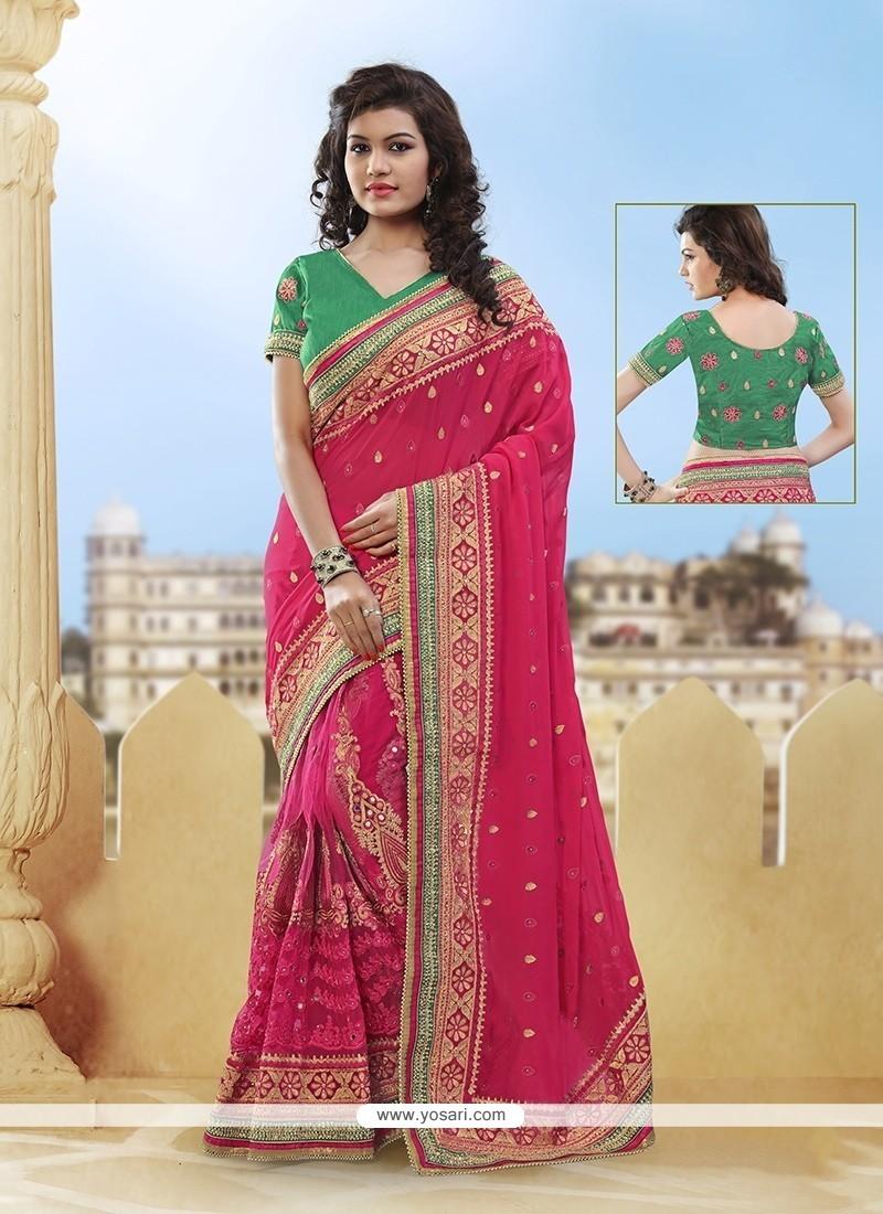 Nice Mirror Work Hot Pink Designer Half N Half Saree