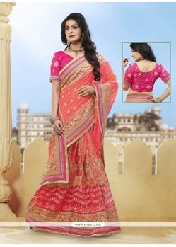 Absorbing Hot Pink And Orange Net Designer Half N Half Saree