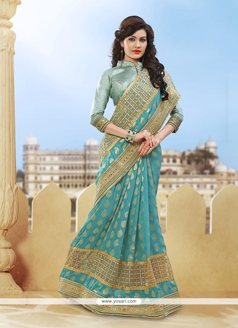 Exquisite Sea Green Classic Designer Saree