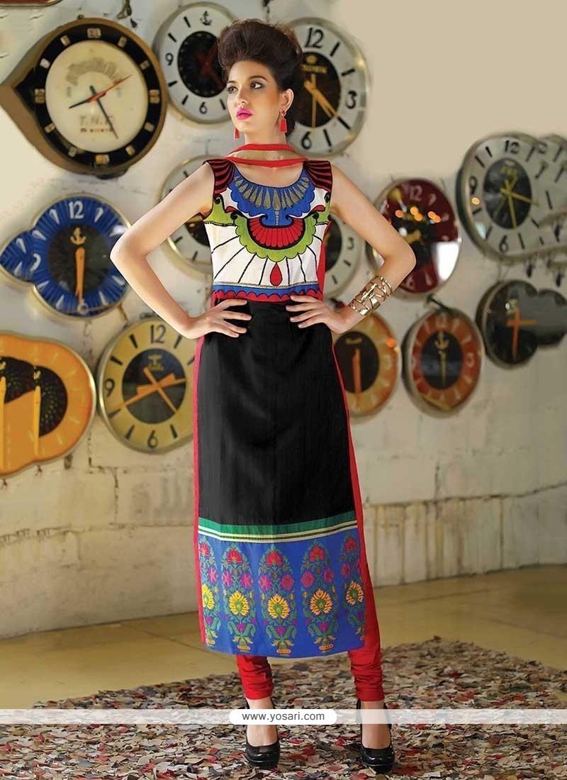Glossy Print Work Tafeta Silk Party Wear Kurti