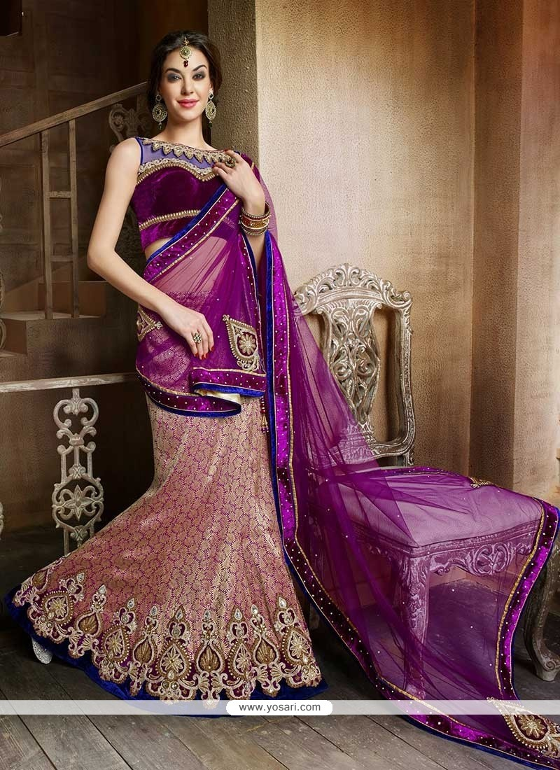 Purple And Pink Brocade Lehenga Choli