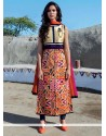 Striking Digital Print Work Multi Colour Tafeta Silk Party Wear Kurti