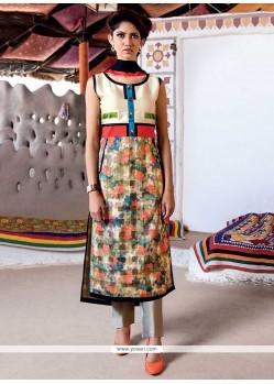 Glamorous Tafeta Silk Digital Print Work Party Wear Kurti