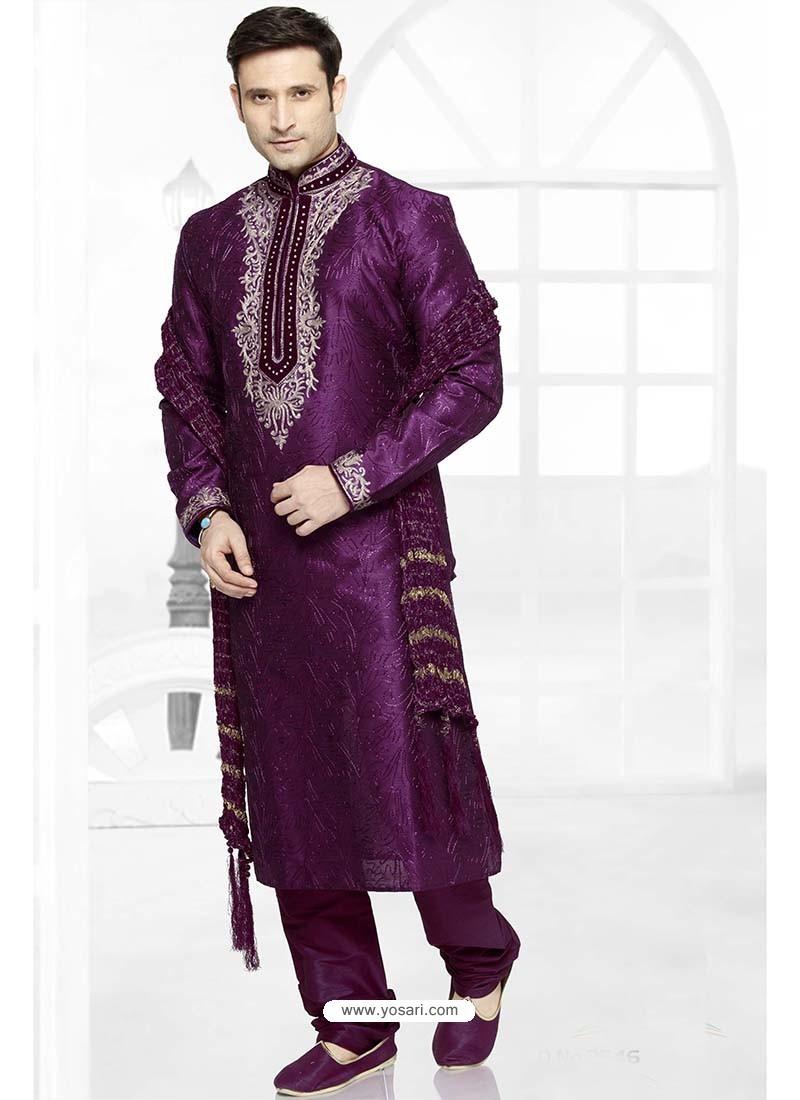 Glossy Purple Designer Kurta Pajama