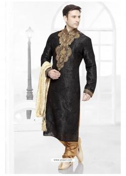 Impressive Black Wedding Kurta Pajama