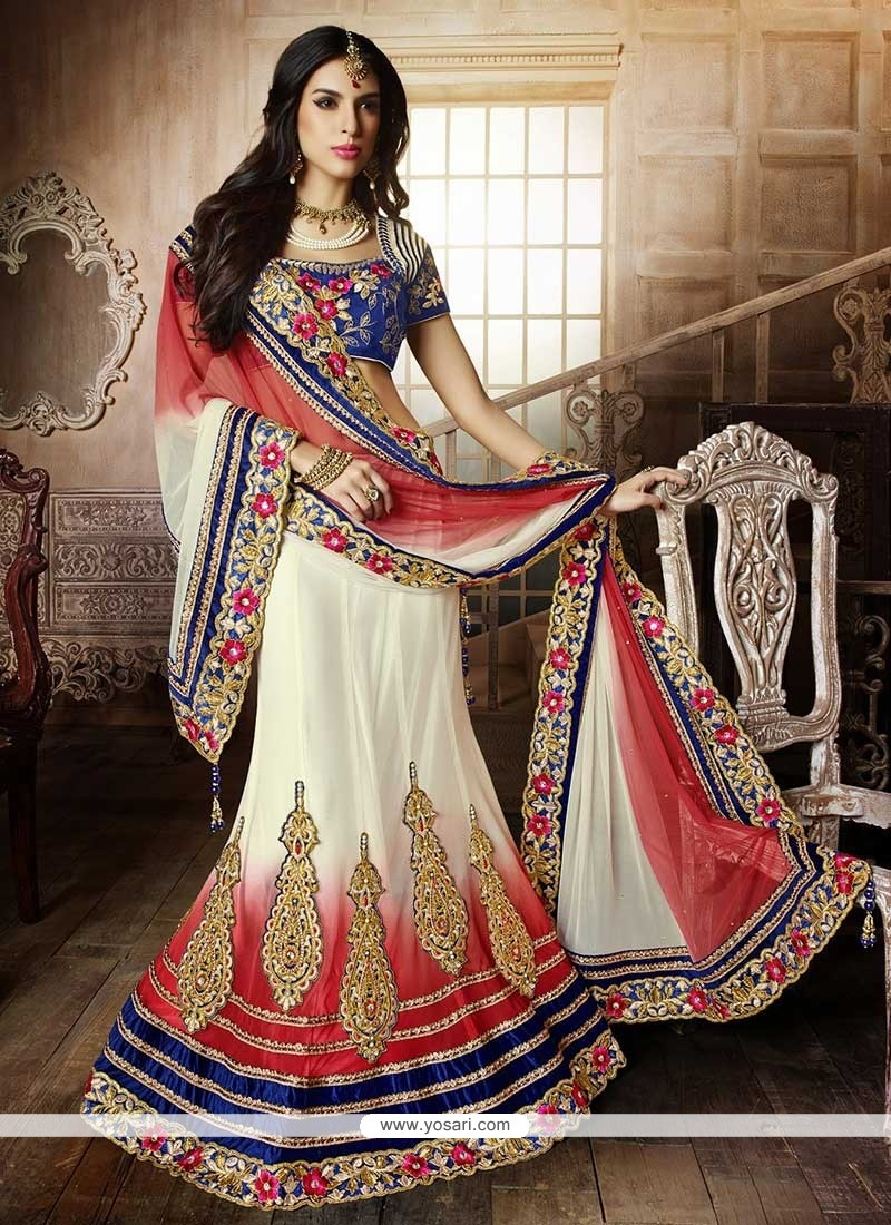 Off White And Red Embroidery Lehenga Choli