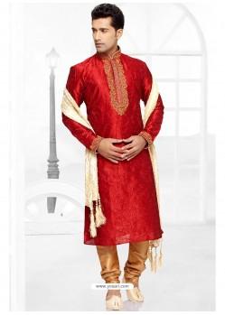Astonishing Red Dhupion Kurta Pajama