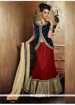 Charming Red Net Lehenga Choli