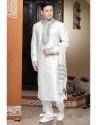 Peaceful White Art Silk Kurta Pajama