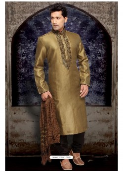 Demure Gold Art Silk Kurta Pajama