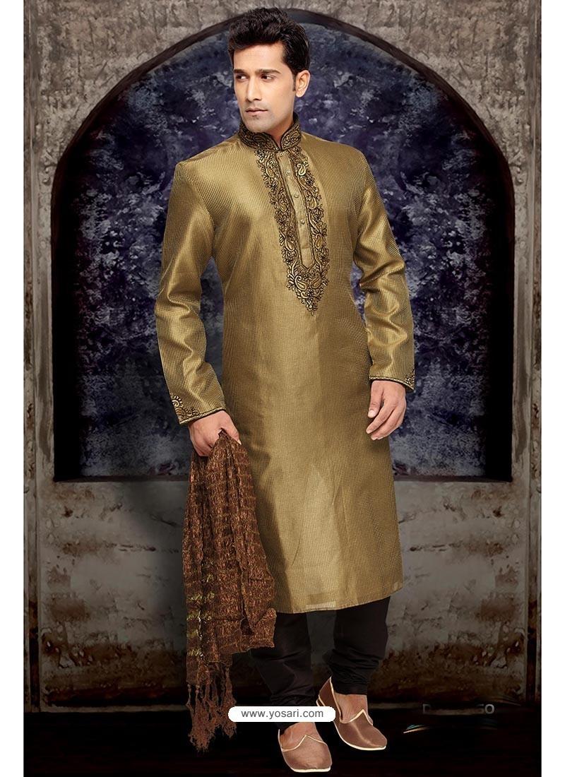 b7f45addaa Buy Demure Gold Art Silk Kurta Buy Pajama | Kurta Pajama