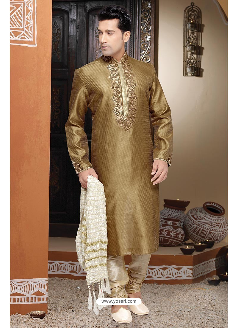 Sterling Golden Art Silk Kurta Pajama