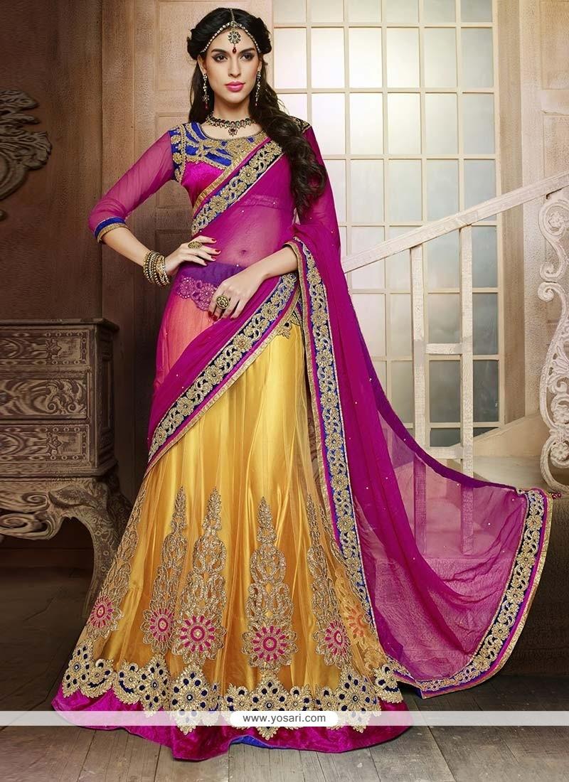 Awesome Yellow Zari Work Lehenga Choli