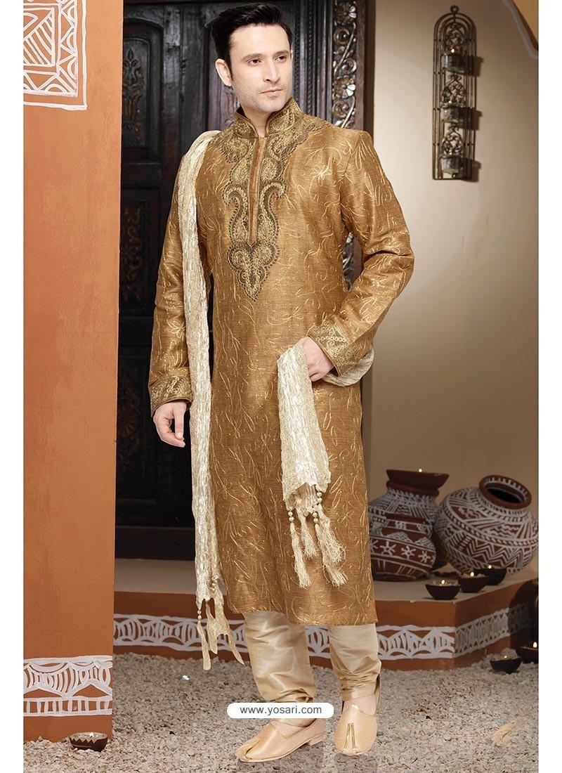 Shaded Beige Jacquard Kurta Pajama