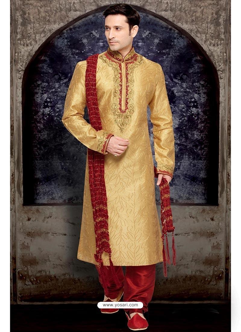 Shining Golden Jacquard Kurta Pajama