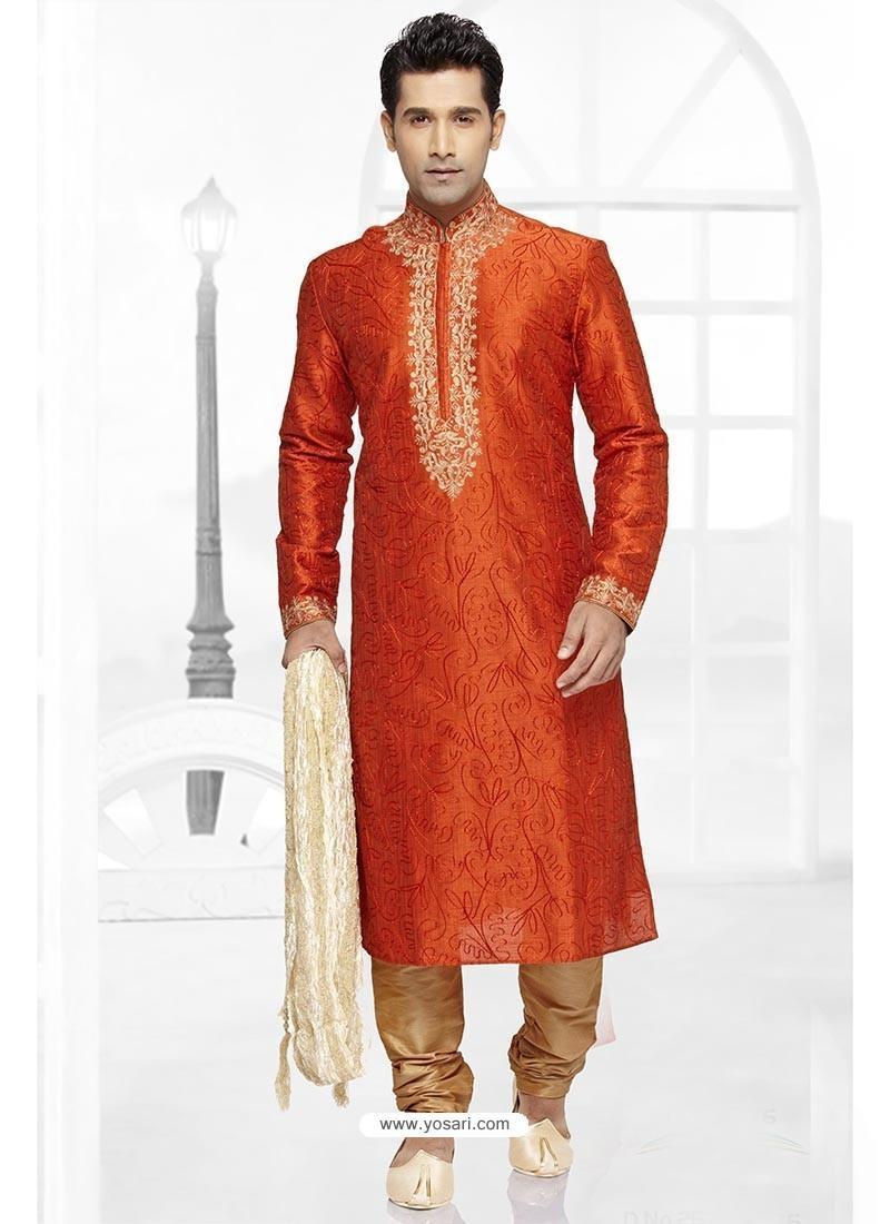 Bright Orange Art Silk Kurta Pajama