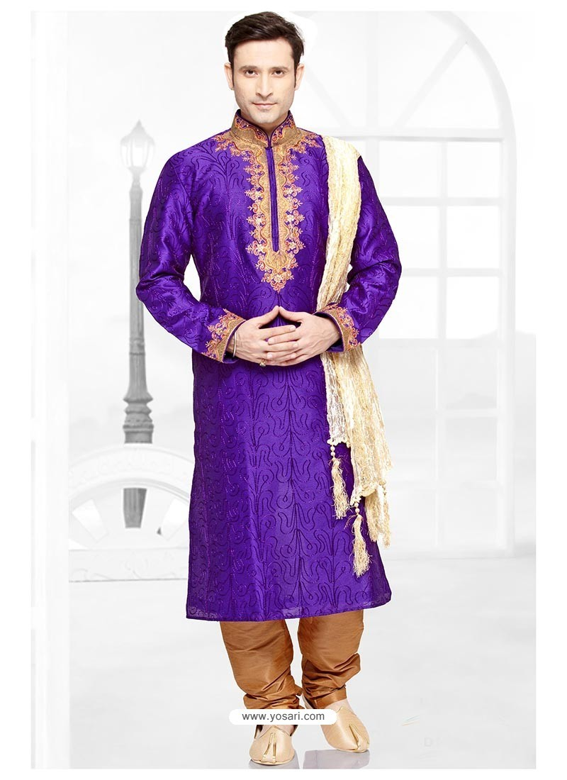 Glowing Purple Art Silk Kurta Pajama