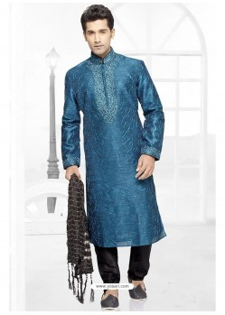Royal Blue Jacquard Kurta Pajama