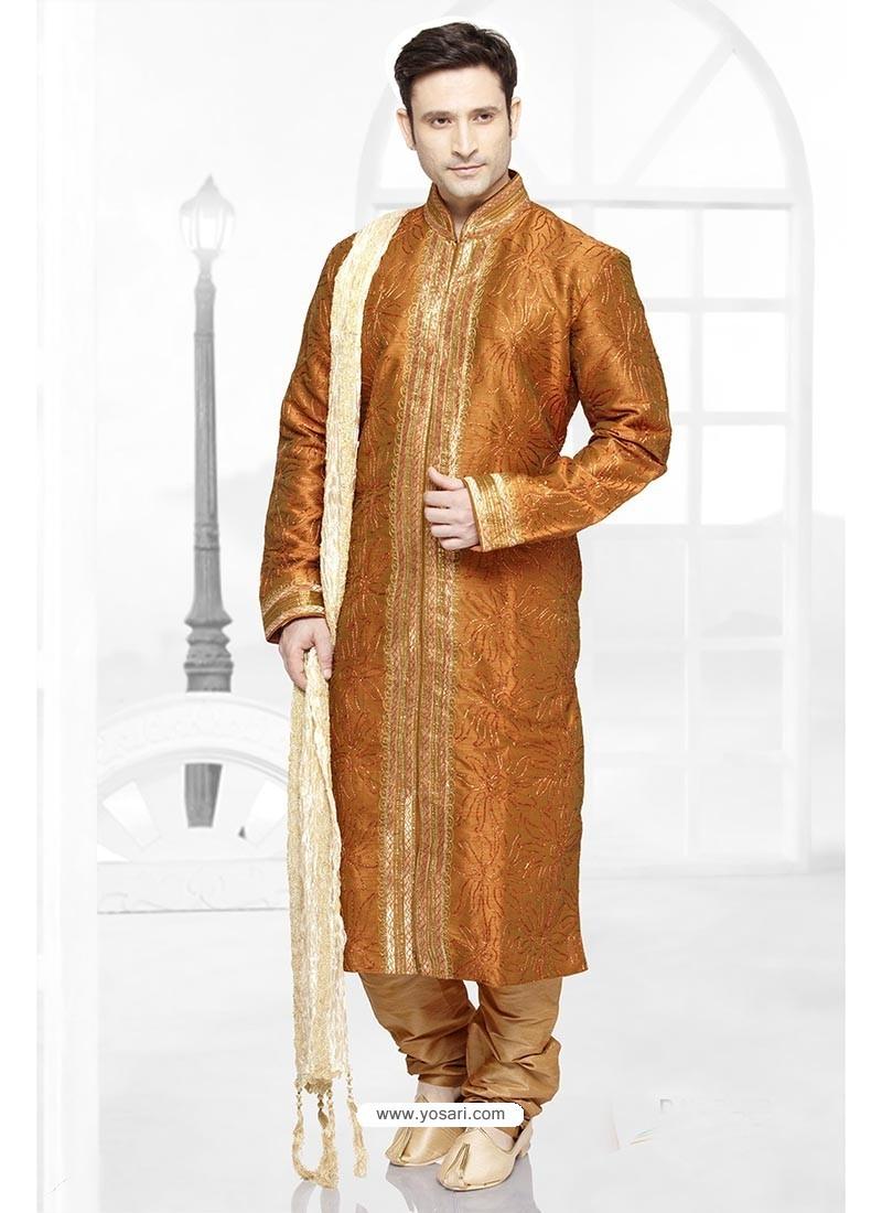 Glossy Orange Wedding Kurta Pajama