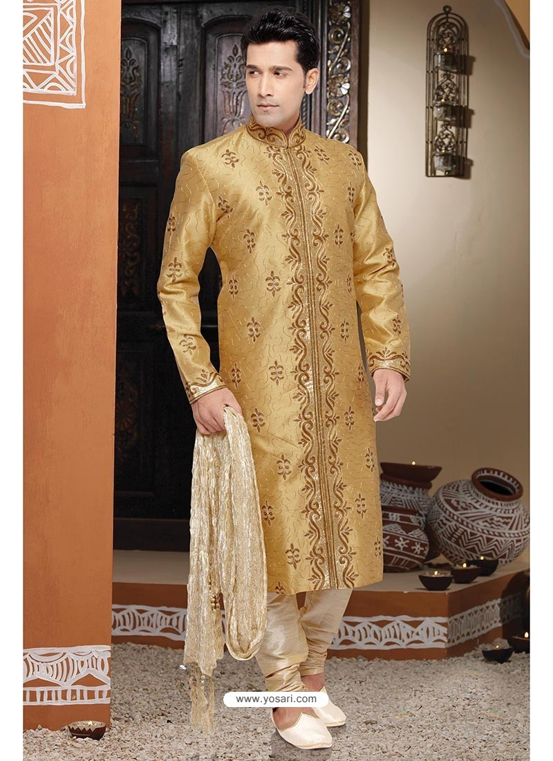 Scintillating Art Silk Golden Kurta Pajama