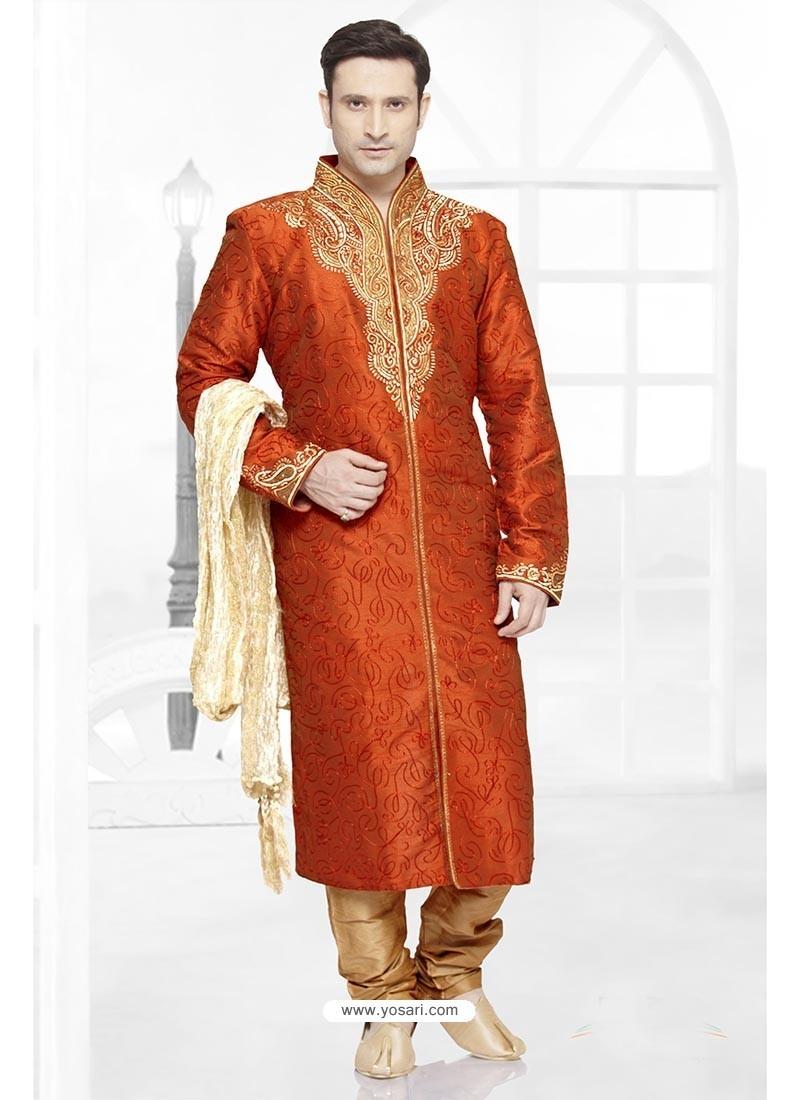 Bright Orange Dhupion Kurta Pajama