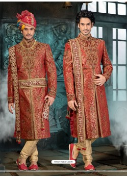 Glossy Maroon Pure Silk Sherwani
