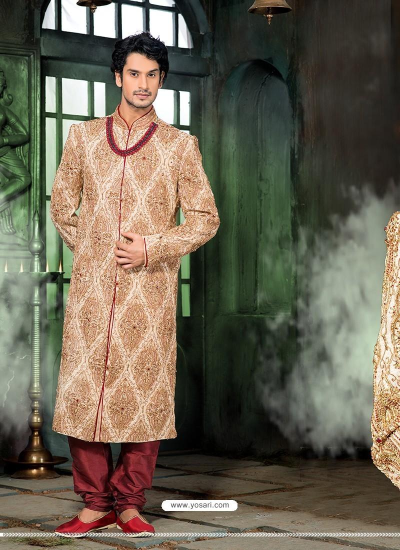 Demure Beige Wedding Sherwani