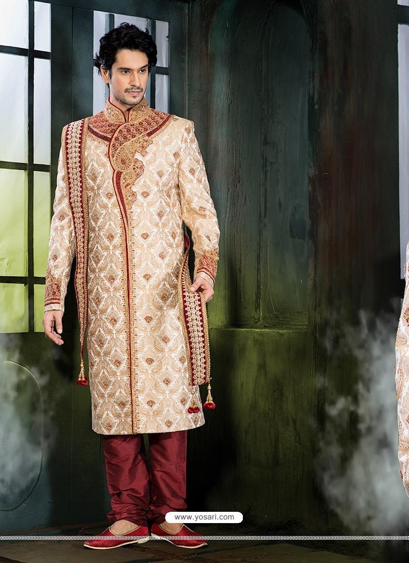 Blooming Beige Pure Silk Sherwani