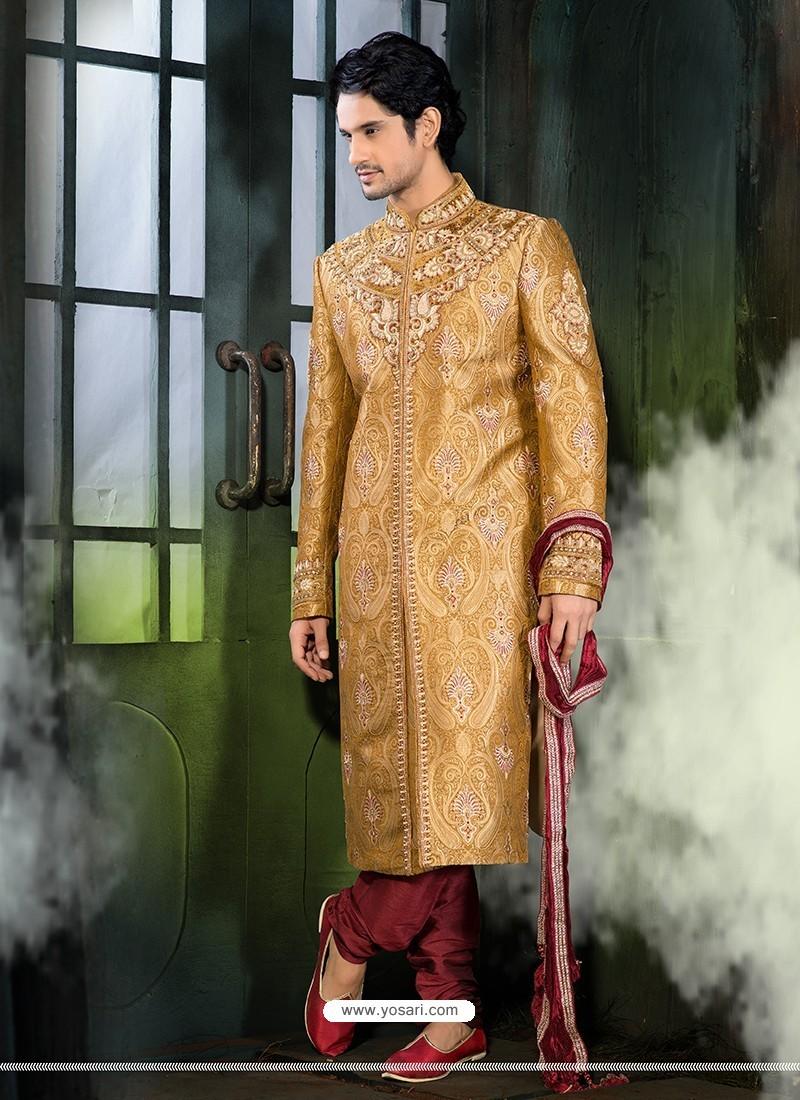Astonishing Gold Wedding Wear Sherwani