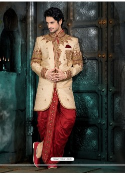 Fab Beige Wedding Sherwani