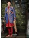 Imperial Blue Party Wear Sherwani