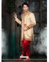 Stunning Beige Velvet Sherwani