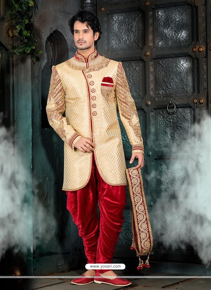 Genius Golden Velvet Sherwani