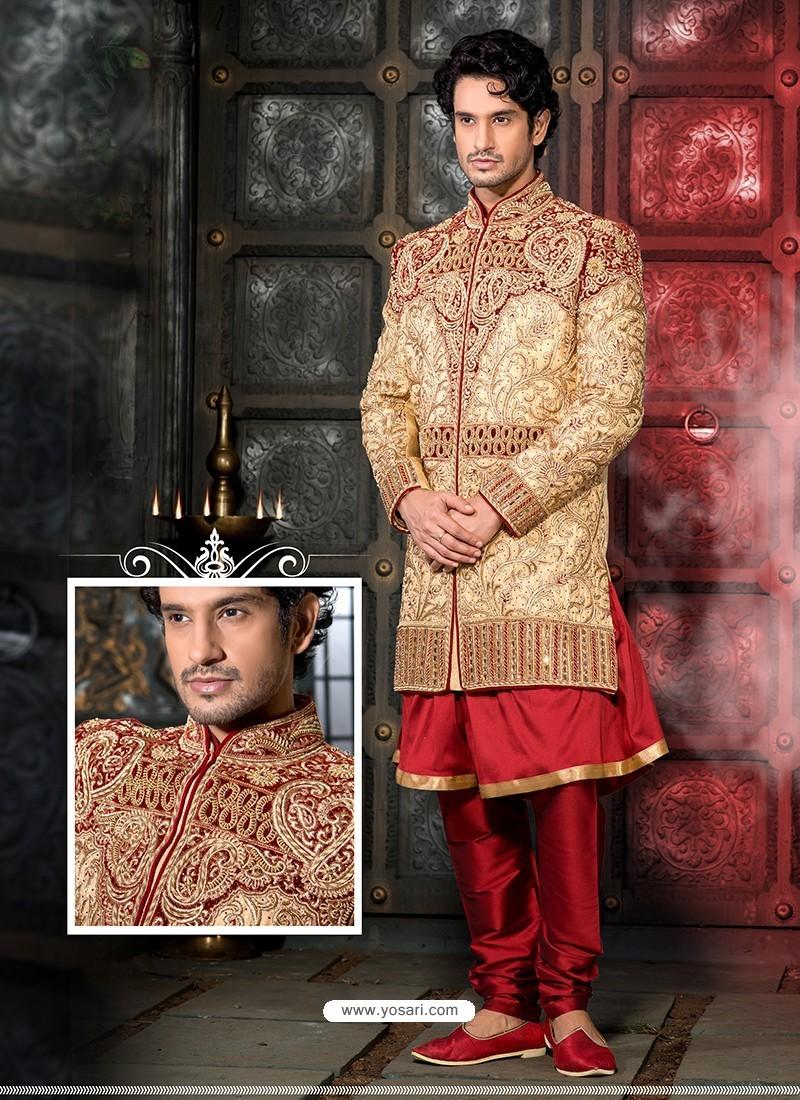 Glossy Golden Art Silk Sherwani