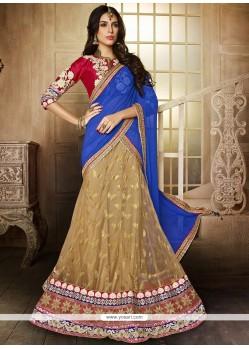 Glorious Beige Net Wedding Lehenga Choli