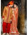 Bright Orange Pure Silk Sherwani