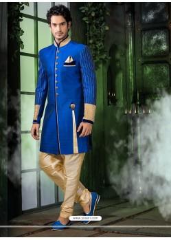 Astonishing Blue Dhupion Sherwani