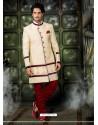 Competent Cream Pure Silk Sherwani