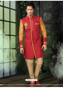 Impressive Red Pure Silk Sherwani