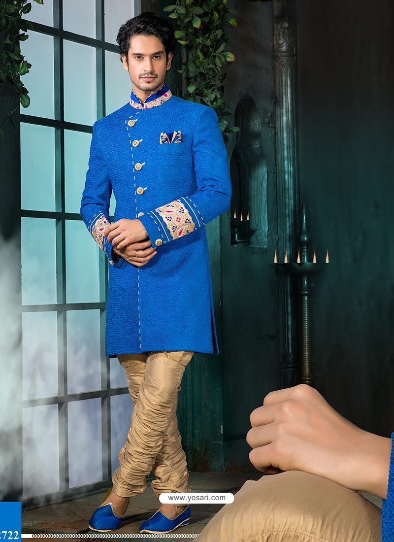 Royal Blue Art Silk Sherwani