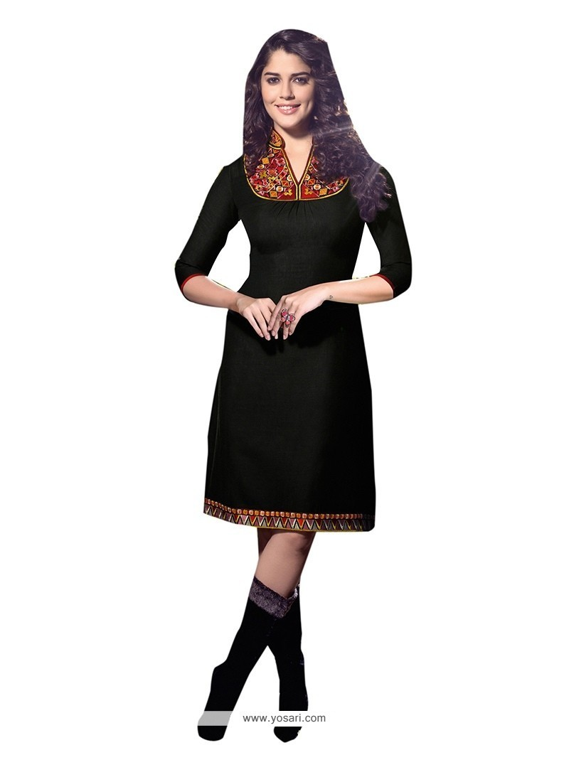 Customary Black Embroidered Work Linen Party Wear Kurti