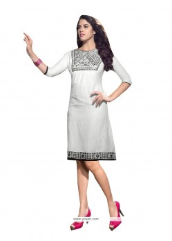 Pleasing Embroidered Work Linen Party Wear Kurti