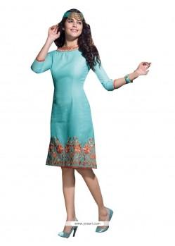 Flattering Blue Linen Party Wear Kurti