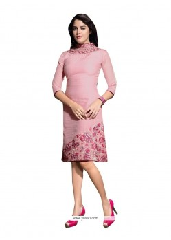 Beckoning Pink Embroidered Work Party Wear Kurti