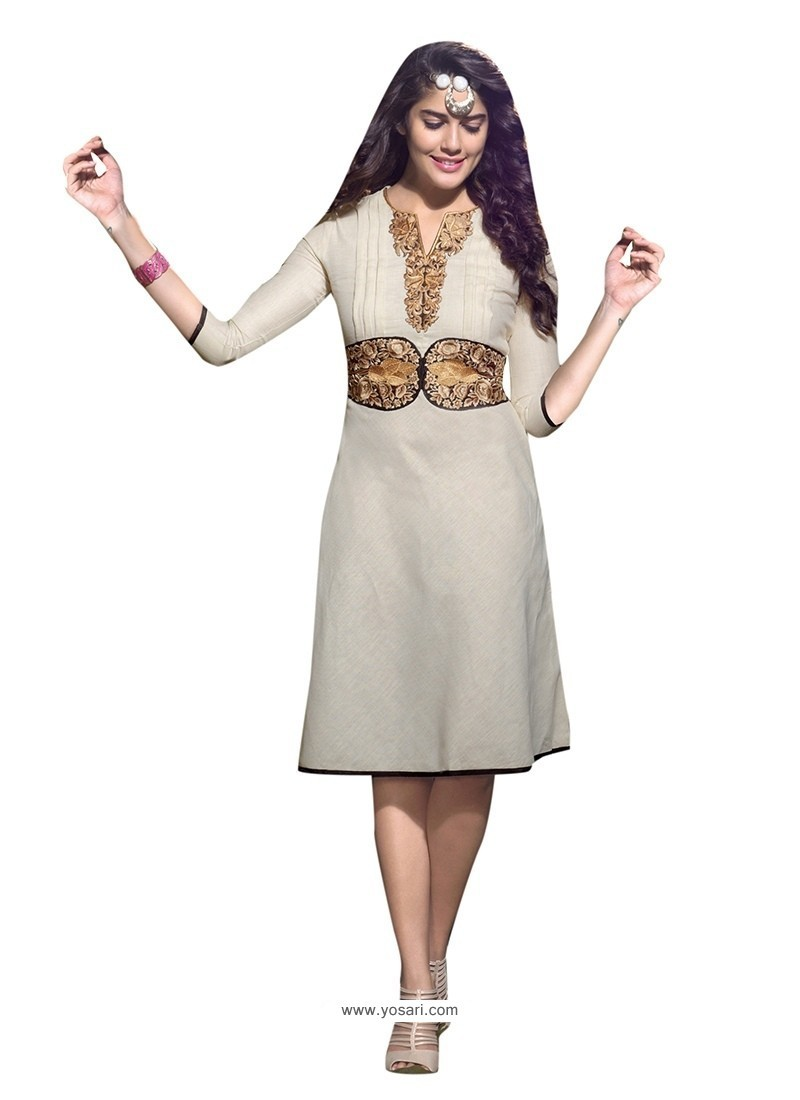 Glorious Linen Off White Embroidered Work Party Wear Kurti