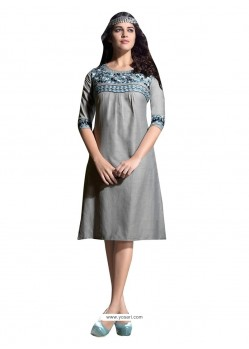 Lively Linen Embroidered Work Party Wear Kurti