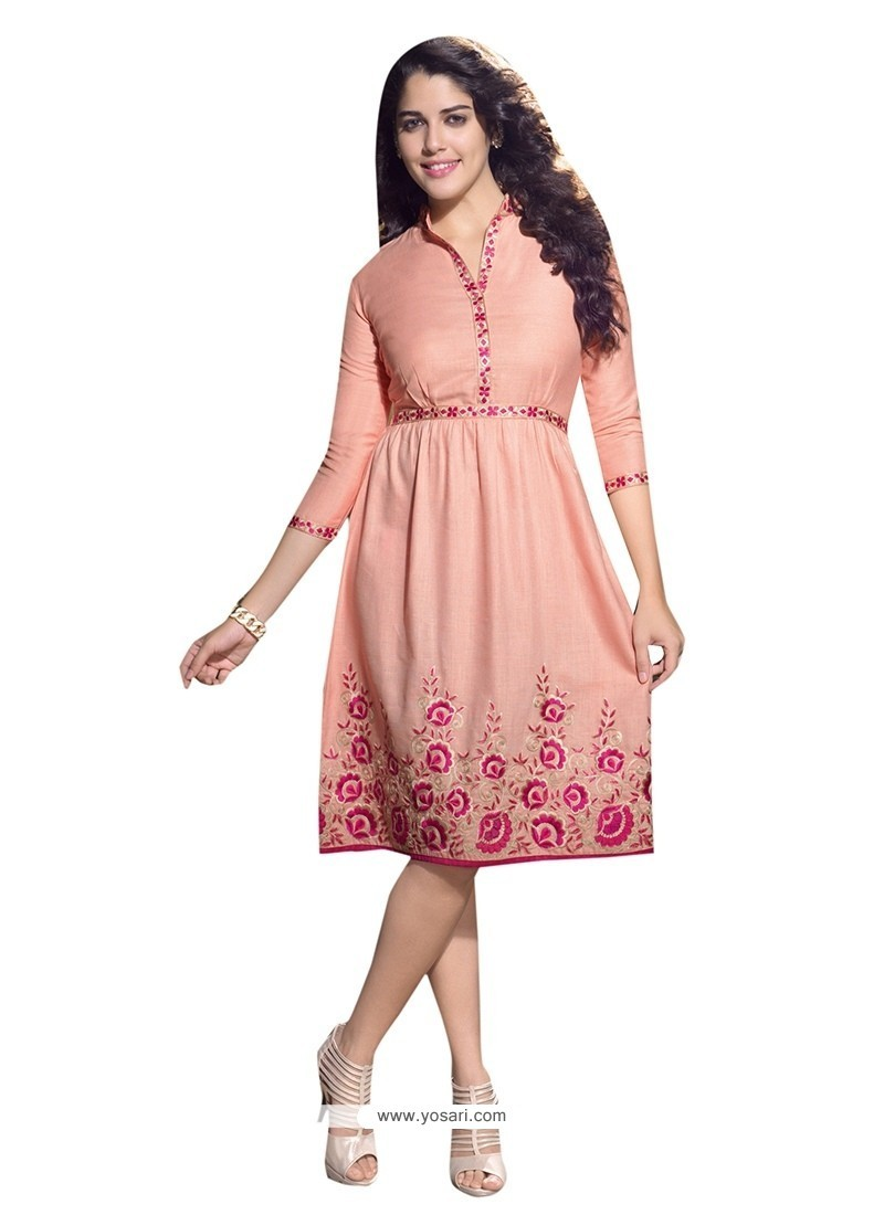 Transcendent Embroidered Work Linen Party Wear Kurti