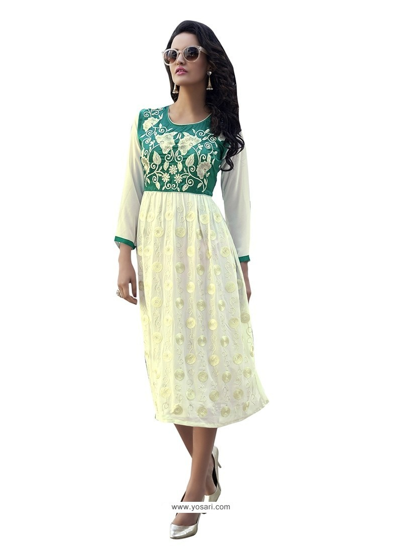 Specialised Faux Georgette Off White Party Wear Kurti