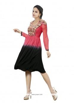 Sensational Black And Pink Party Wear Kurti